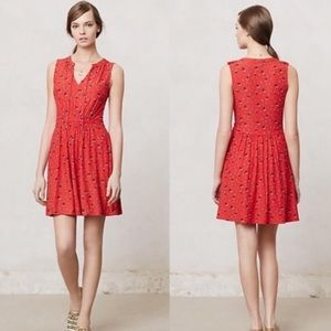 Anthro leifnotes red anchor sail boat dress